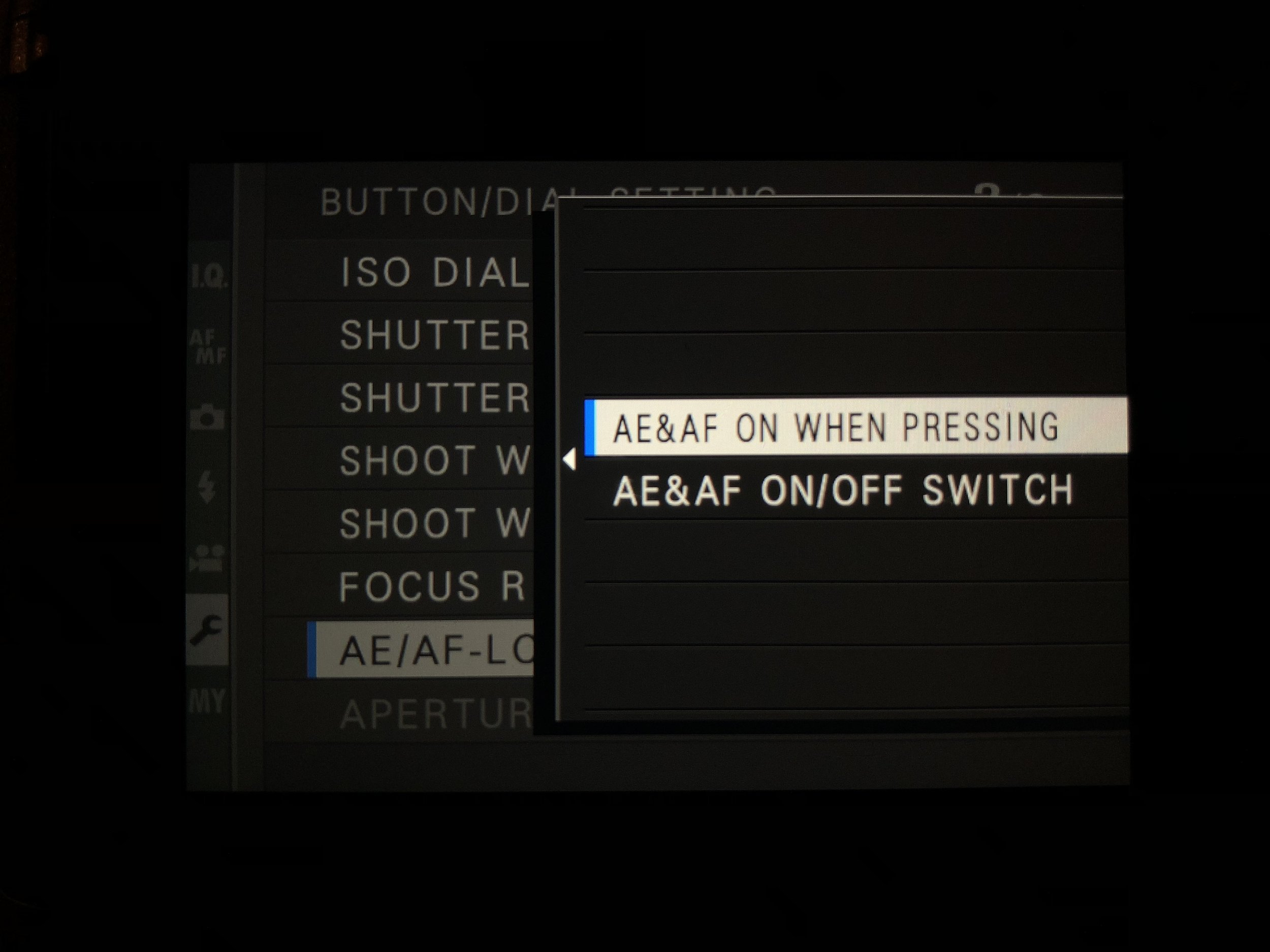 Set AE&AF ON to P - Set Up>Button/Dial Setting>AE/AF Lock Mode to P