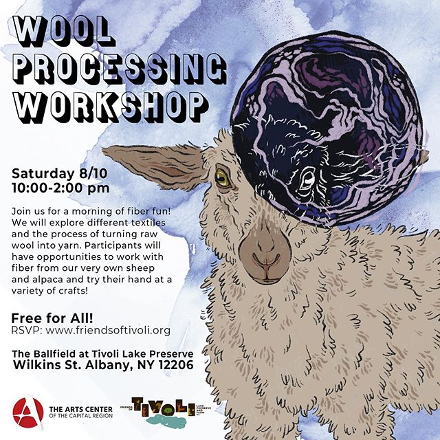 Join me this Saturday 8/10/19 from 10:00- 2:00pm for @friendsoftivoli 's first FREE fiber workshop! ✨ We will be exploring different fiber types including wool from Tivoli's own sheep and alpaca! 🐑✨ (You can even meet the real Philip Aries who's the illustration inspiration!) Participants will have hands-on opportunities to try out different fiber crafts. Or, bring your current WIP to work on. 💜 ✨ Please RSVP through the link in @friendsoftivoli bio. Note that this workshop will take place outside at the community farm. Rain date is Sun 8/11/19. ✨ See you this weekend! 💜 ✨ A HUGE thank you to NYS Decentralized Grant Program, The Arts Center of the Capital Region and FOT's wonderful donors for making this series happen! ✨ #communitysupportedart #upstatenycreatives  #518arts #artandagriculture #nyfiber