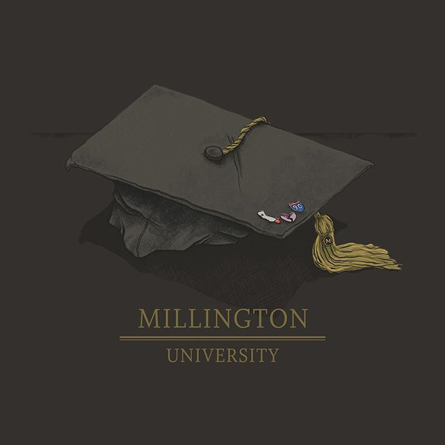 "So excited to share this new single art! ✨ @millingtontheband dropped their new single AND music video ""University"" yesterday. I def recommend checking it out. 🙌💜 ✨ #millington #518music #skapunk #albumart #upstatenymusic #newmusic"