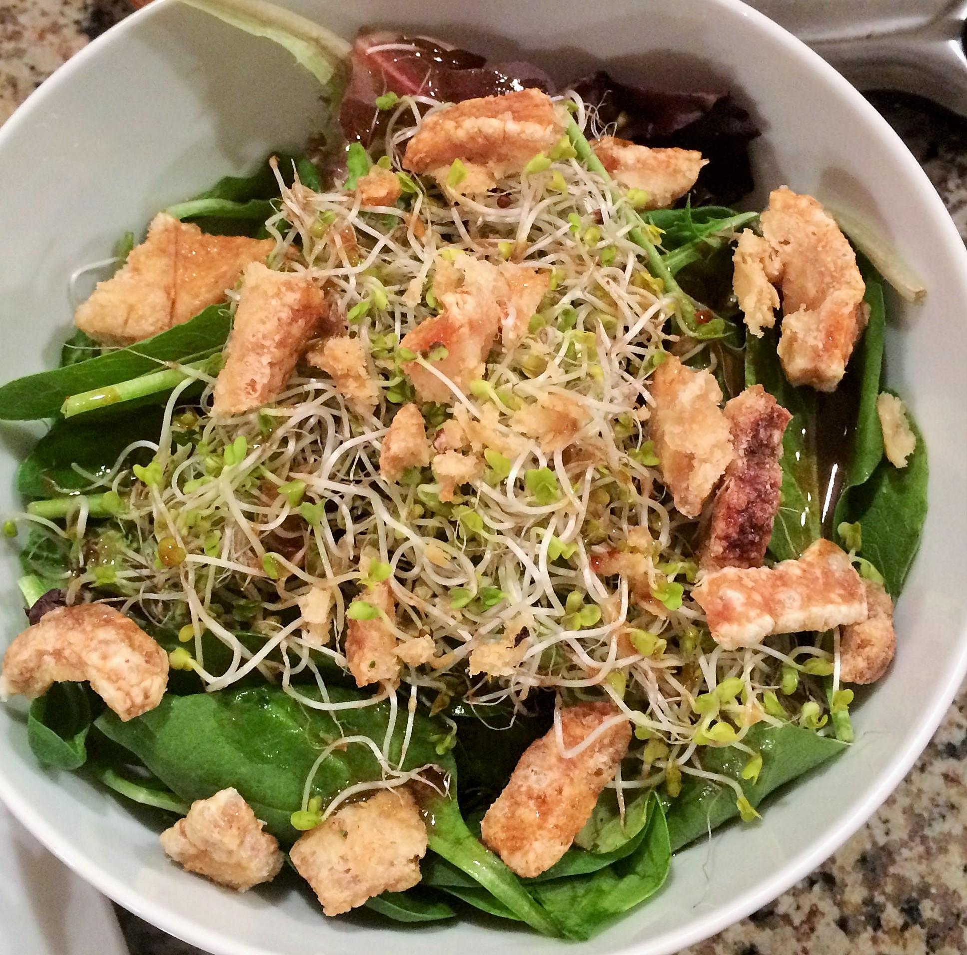 Green Spinach Salad with Chicharron Crisps.