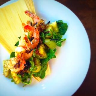 Mojo Shrimp with a Tomatillo and Prickly Pear Salad