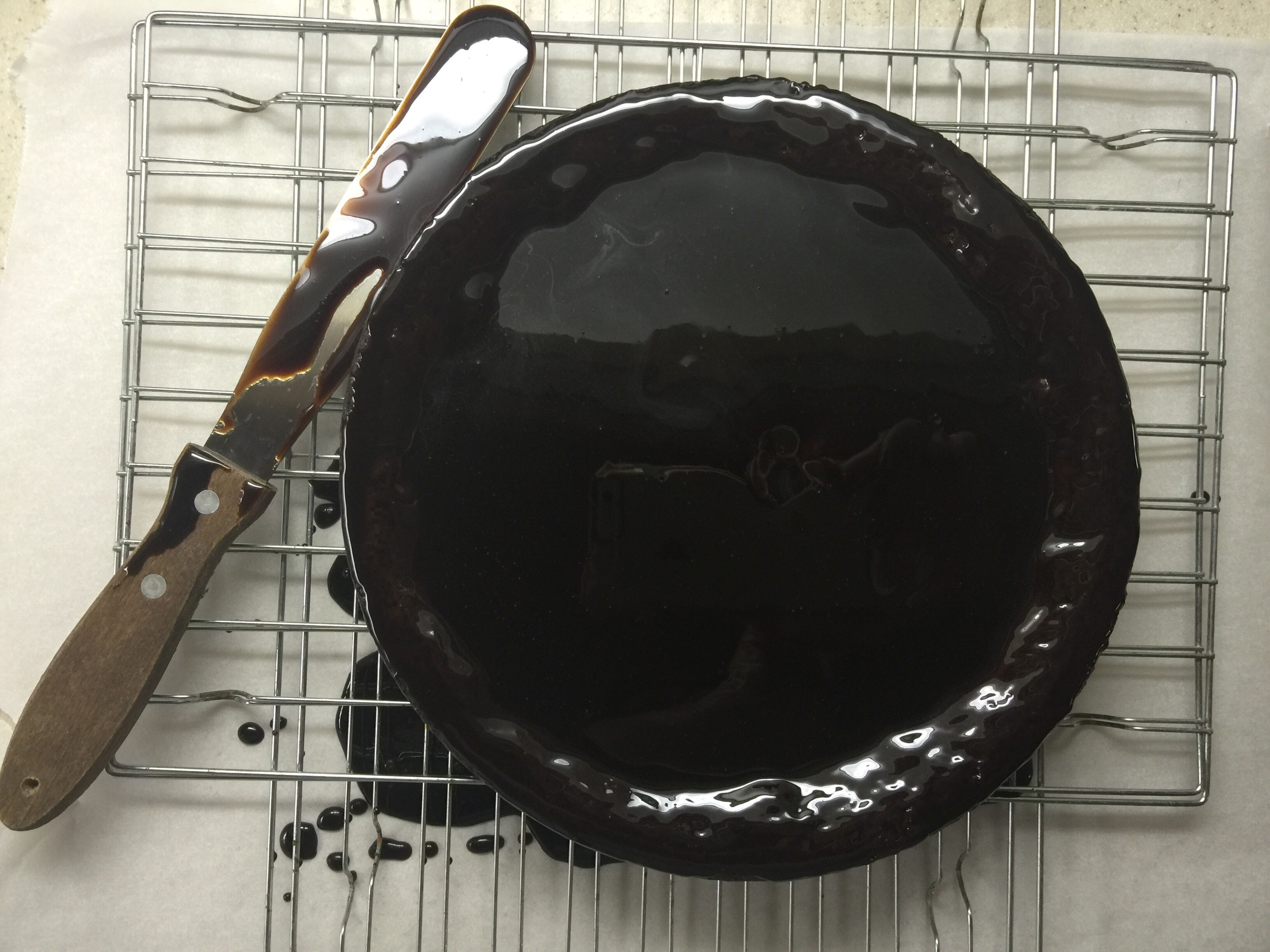 The balsamic glaze is mixed with the chocolate (merlot) sauce. Look at that luxurious dark color!