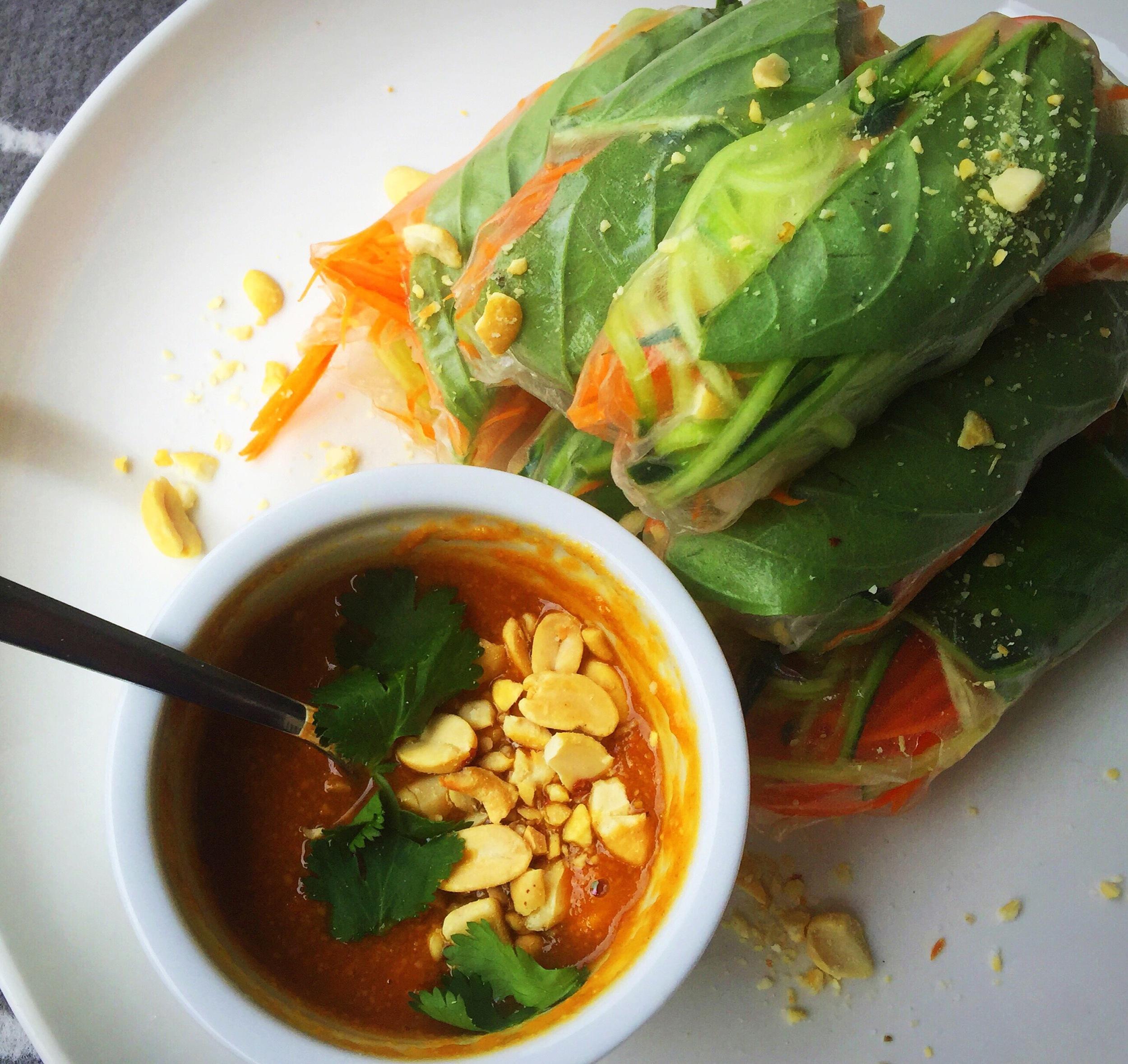 Thai Spring Rolls with Peanut Sauce