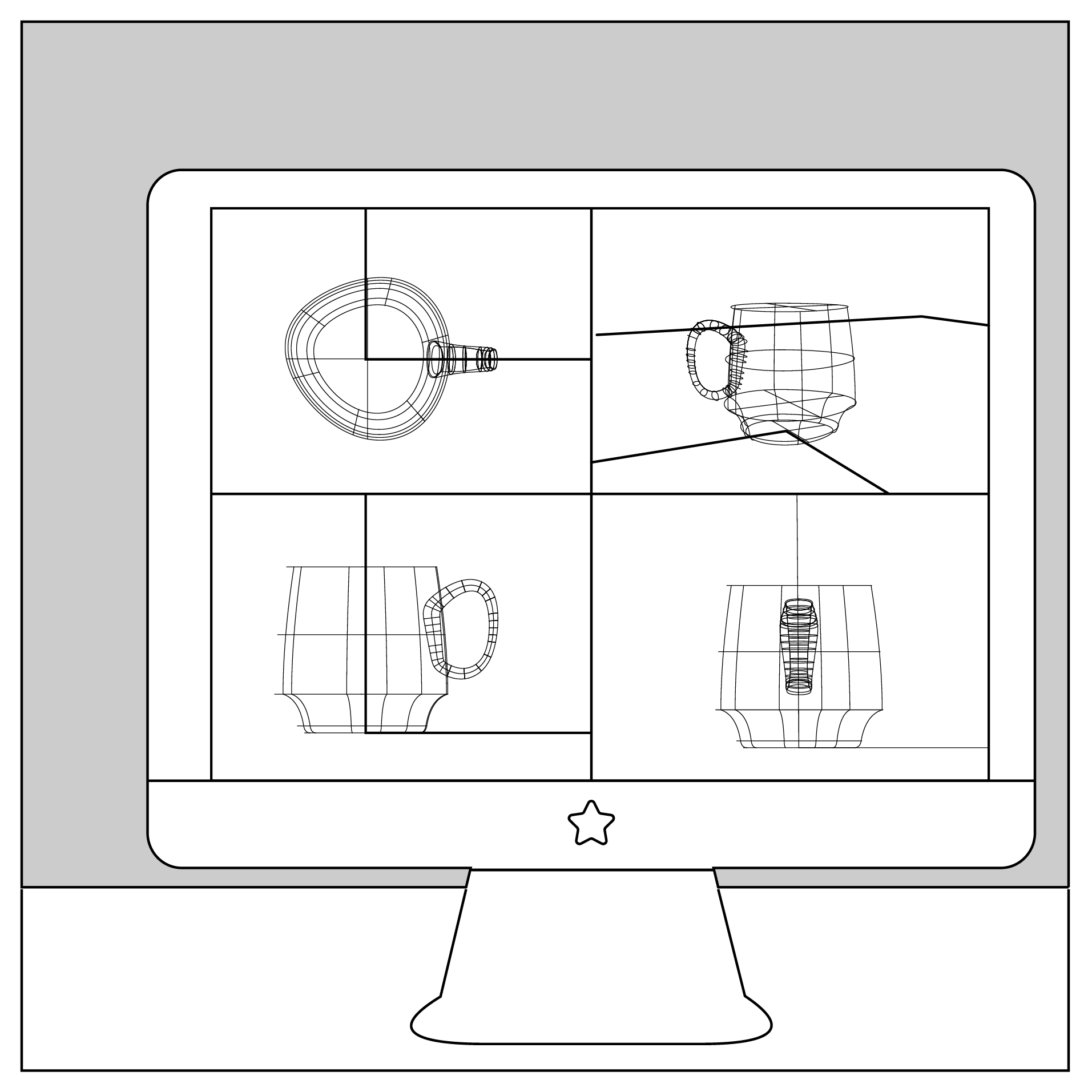 Pieces start as lines and shapes on the computer in 3D modeling software.