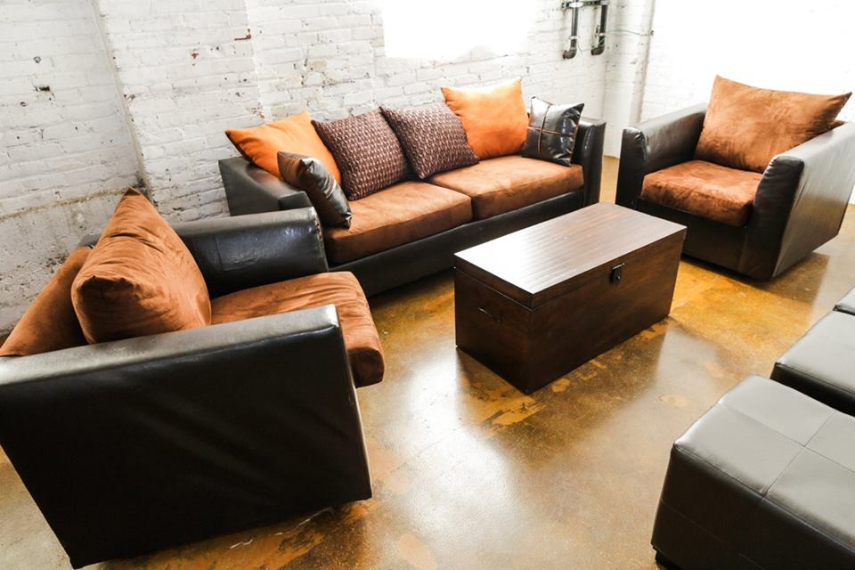 Brown Two Tone w/ Orange Accent Pillows