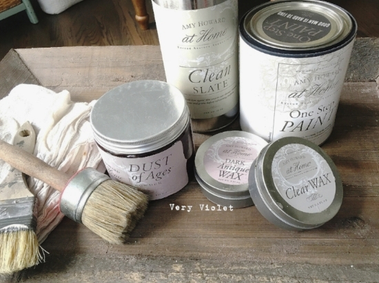 Here are the supplies I used:  *Clean Slate-thoroughly clean the cabinet  *Amy Howard One Step Paint in (A Good Man Is Hard to Find)  *Clear Wax and Dark Wax  *Dust of Ages  *Natural bristle brush & Large Wax Brush  *Cheesecloth for buffing