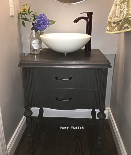 Here she is all buffed and in her new home. We ordered our sink and faucet online through Home Depot. They did not have what we needed in store at our location,