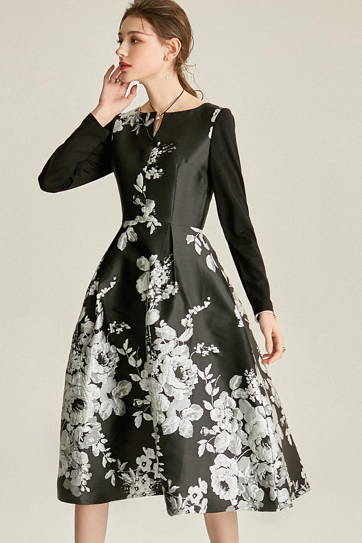 Spring Retro 1950 Lbd Black Jacquard Long Sleeve Wedding Guest Audrey Hepburn Dress Bailey Good Girl Rebel