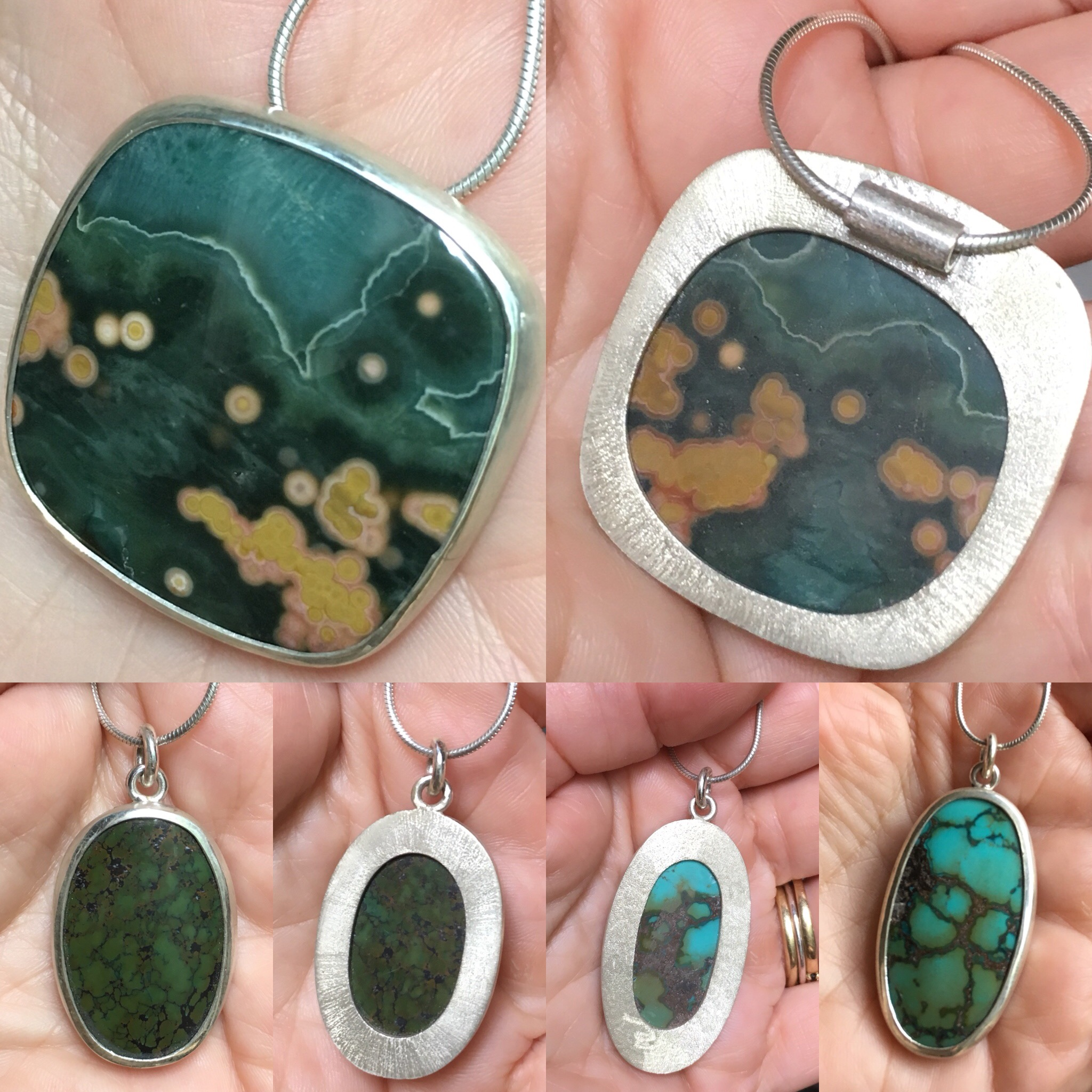 Pendant Challenge, Round # 2: silver, jasper and Chinese turquoise.