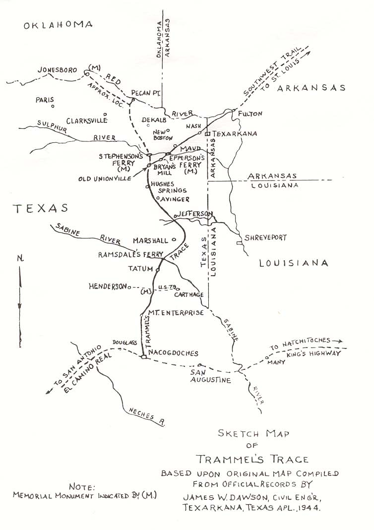 """Sketch Map of Trammel's Trace"" by James W. Dawson, 1944. Arkansas Historical Commission, Southwest Arkansas Regional Archive, Washington, Arkansas."