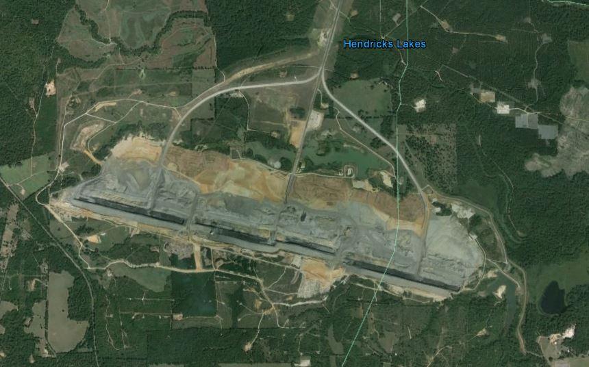 Lignite mining between road closure and Hendricks Lake