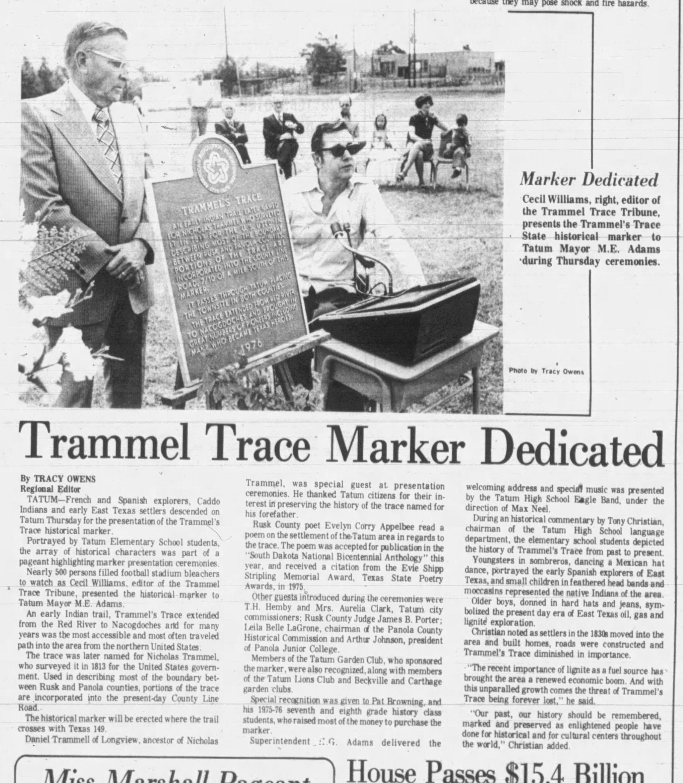1977-05-06, Marshall News Messenger, p 1, Trammel Trace Marker.jpg