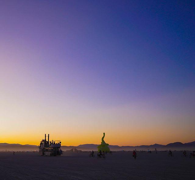 🔥 Peaceful sunset before the madness —- #burningman #sunset #burningmanphotos #blackrockcity #desert