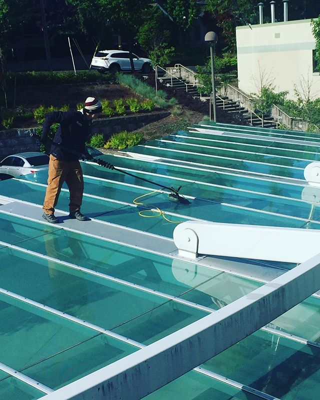Nothing stops us from washing windows. We do it all. #cleanwindows #glass #pnw #providencehospital #weouthere