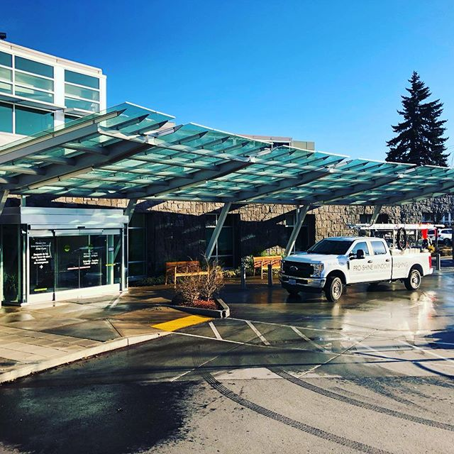 We just finished SoftWashing the structural steel for the glass awning at the hospital. There is something deeply satisfying watching 12 months of dirt and grime melt as we gave the awning it's annual bath.