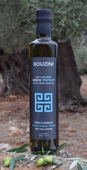 Raw unfiltered extra virgin greek olive oil