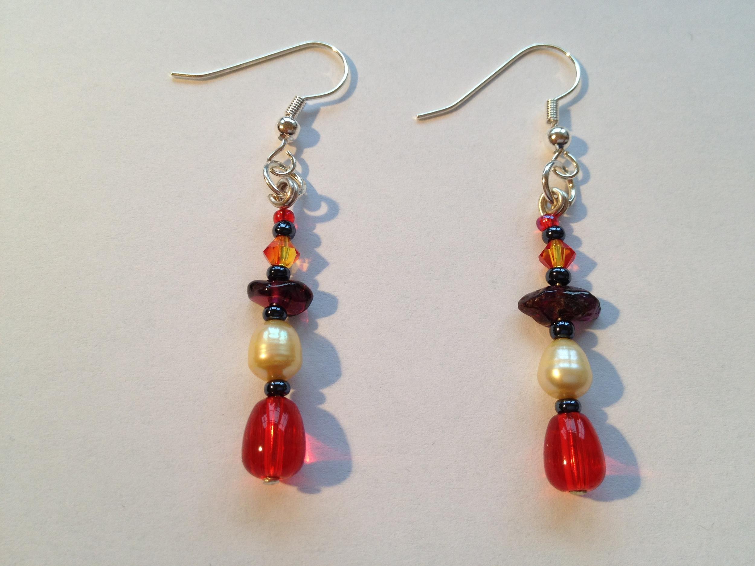 Pearl & gemstone drop earrings