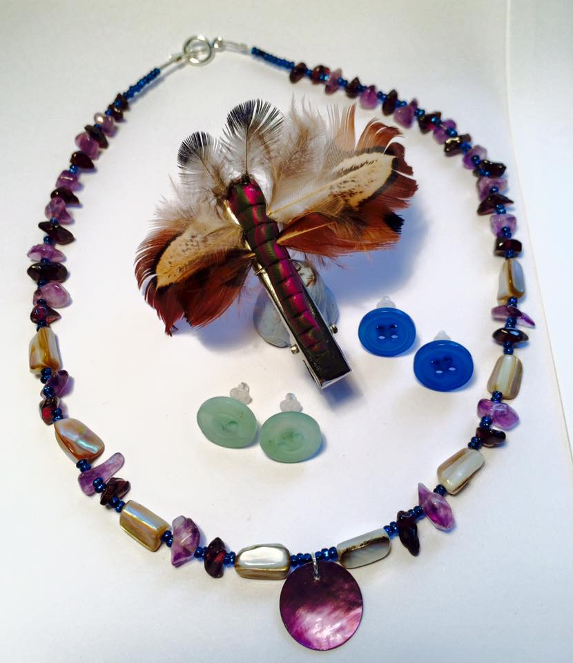 Feather moth clip, shell and semi-precious bead necklace, button earrings