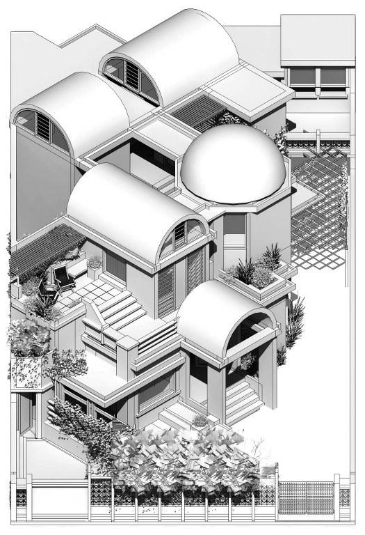 axonometric view, vault house