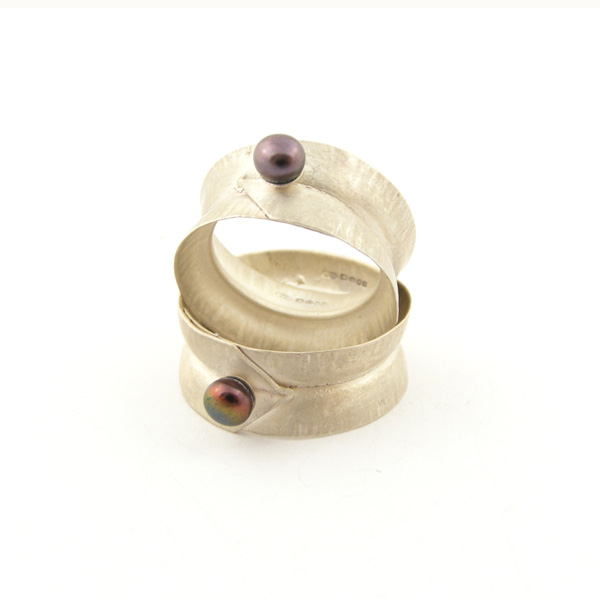 Crease Rings - Silver with Freshwater pearl