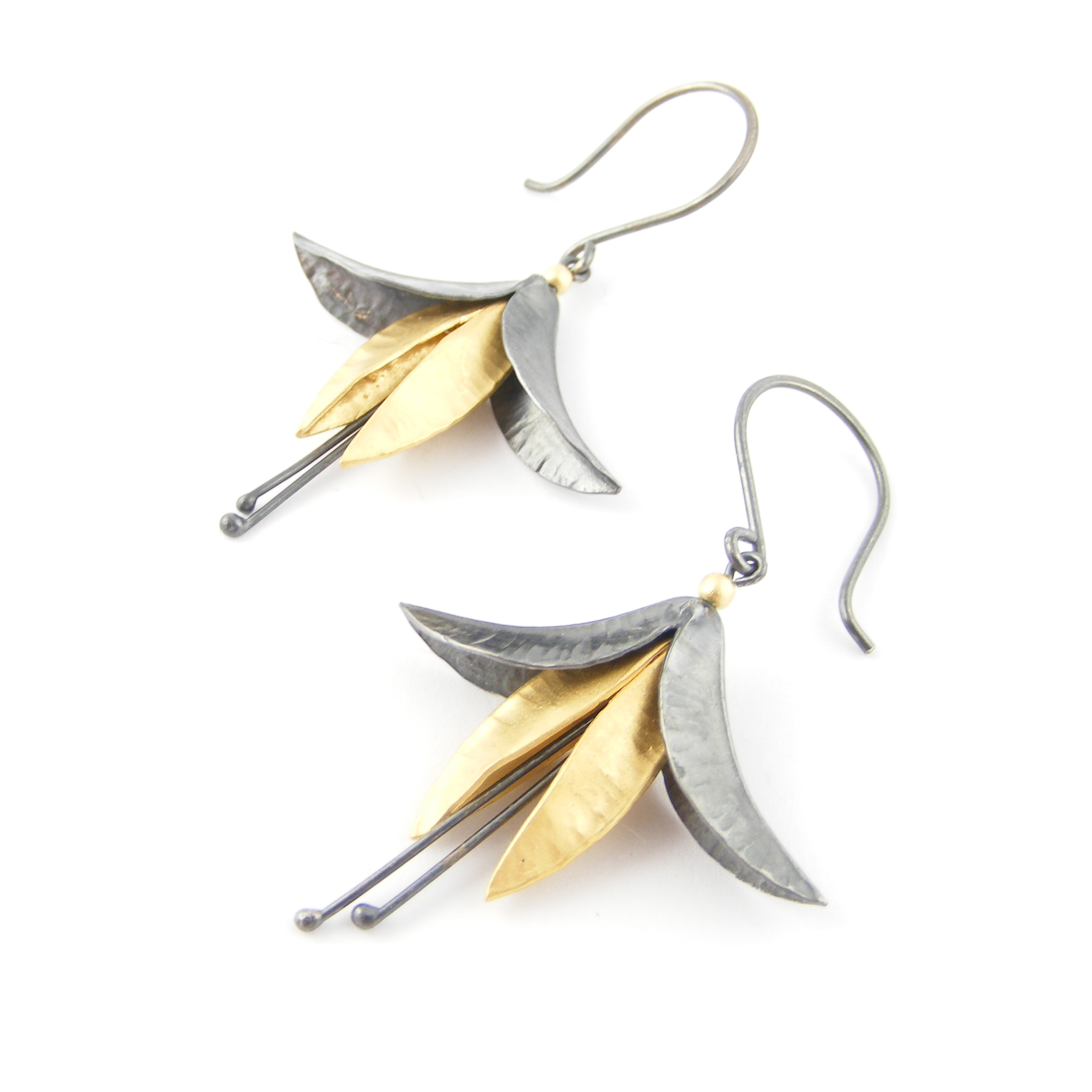 Oxidised Silver & 18ct Gold Plate Fuchsia Earrings