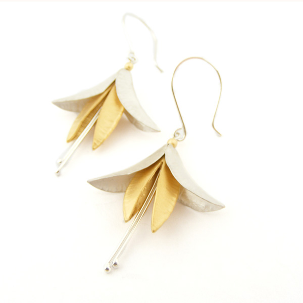 Silver & 18ct Gold Plate Fuchsia Earrings