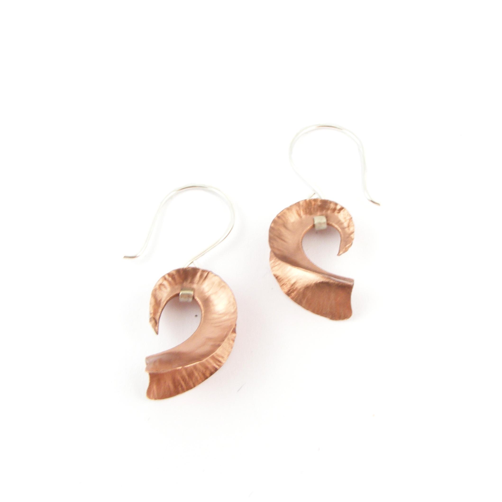 Copper Nautilus Earrings