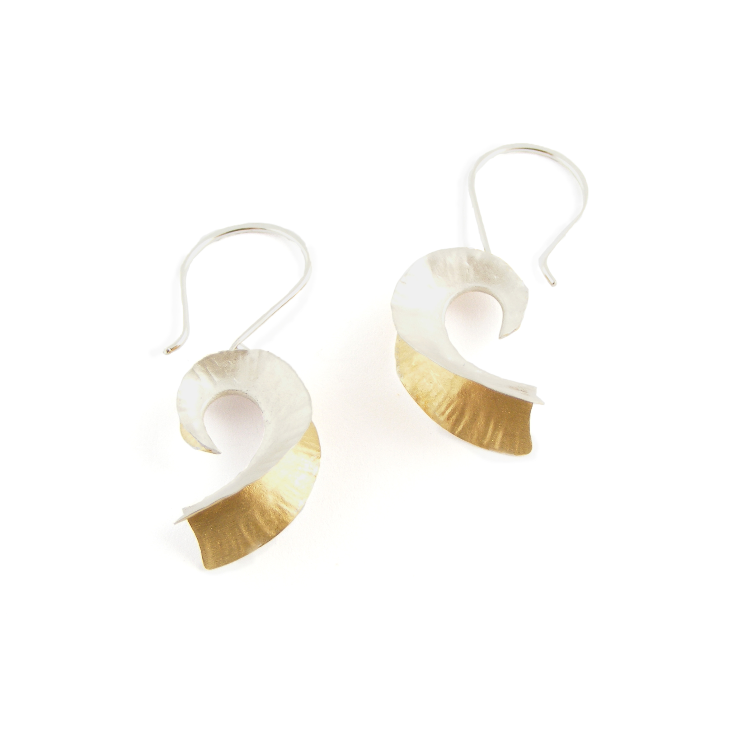 Silver & 18ct Gold Plate Nautilus Earrings