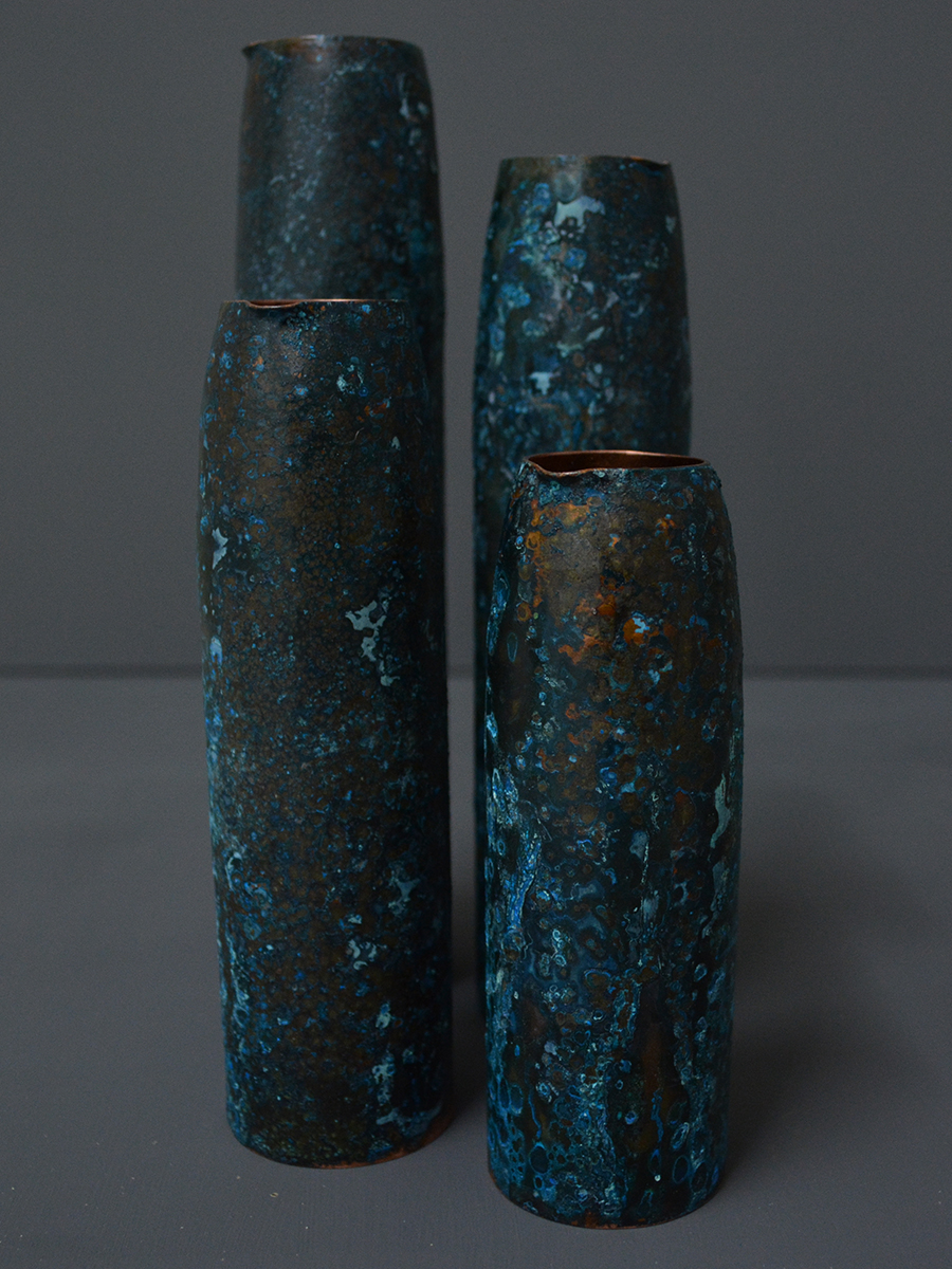 Indigo Pout Bud Vases - Patinated Copper