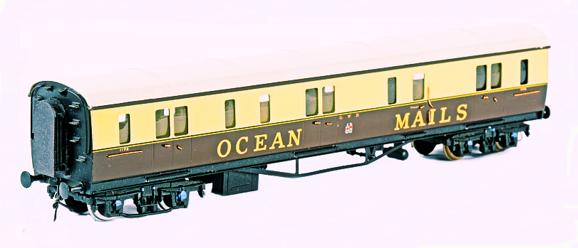 A magnificent OO kit-built Ocean Mails van, constructed by David Lawrence and painted by Larry Goddard.