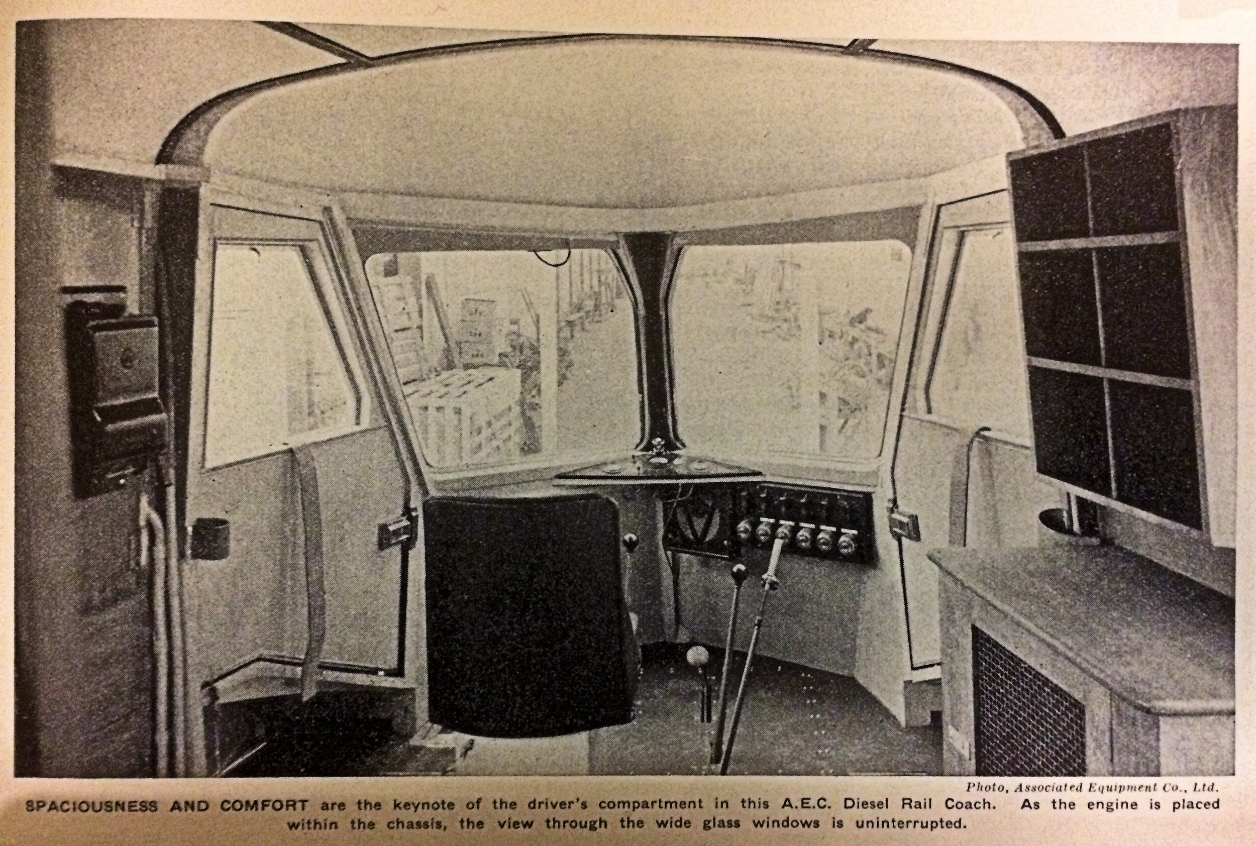 Photograph of driver's compartment of possibly railcar No1.