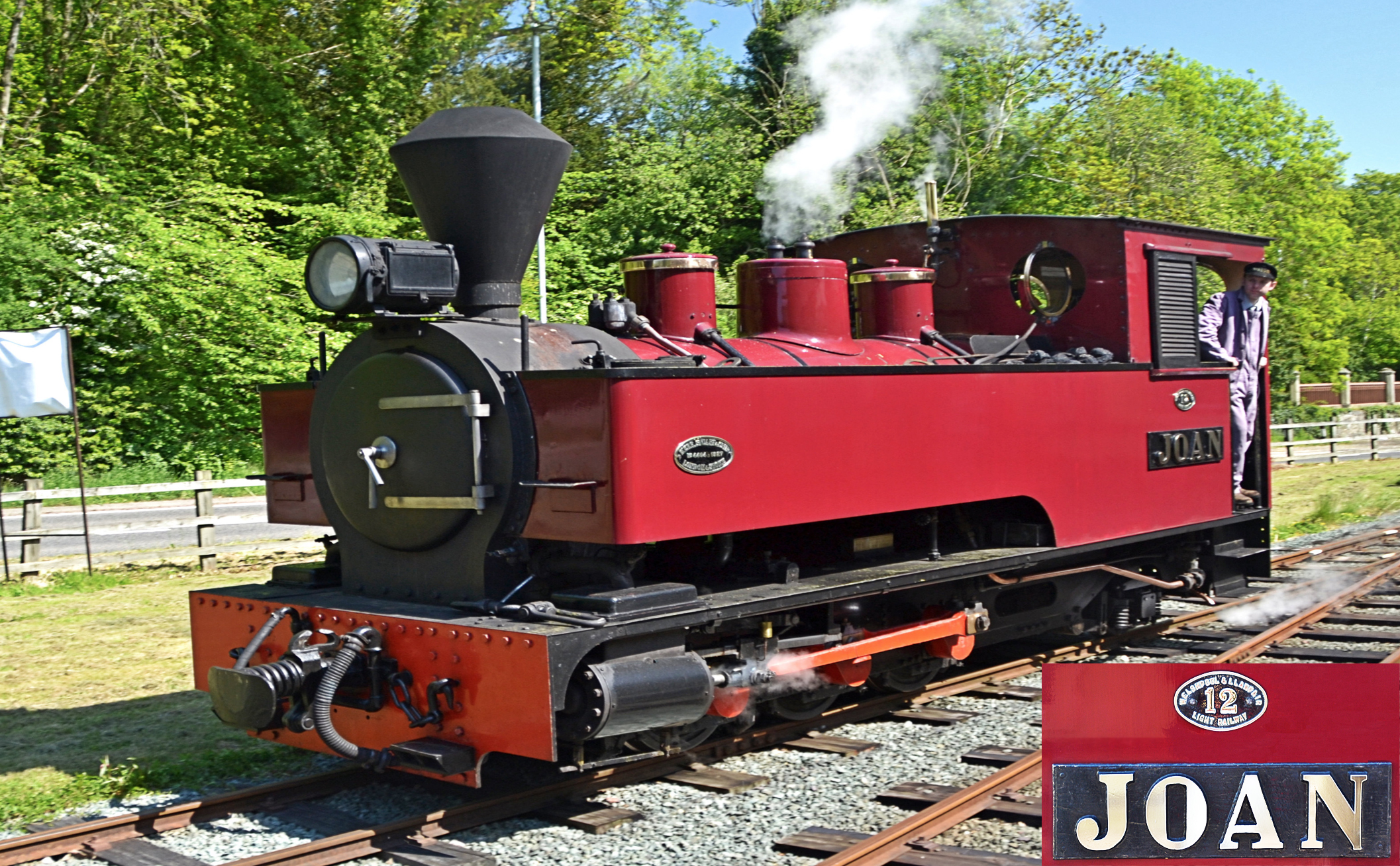 No 12 'Joan' - Welshpool and Llanfair Light Railway  Seen at Welshpool in May, running around her train in readiness for the return leg to Llanfair Caereinion, 'Joan'is a 1927 Kerr Stuart tank built for use on sugar estates   in Antigua. She commenced service on the W&L in 1977.
