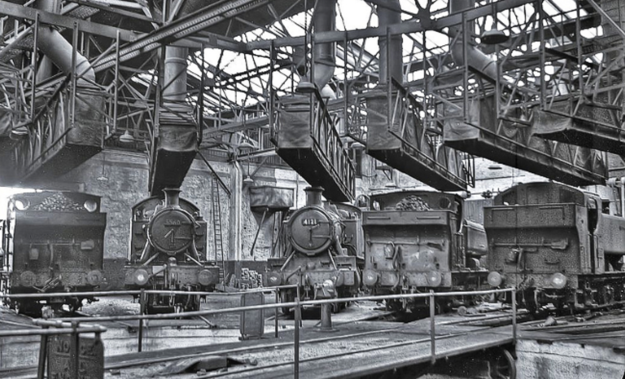 Inside Tondu shed during the last days of steam    Photo: John Wiltshire: Peter Brabham collection, with kind permission
