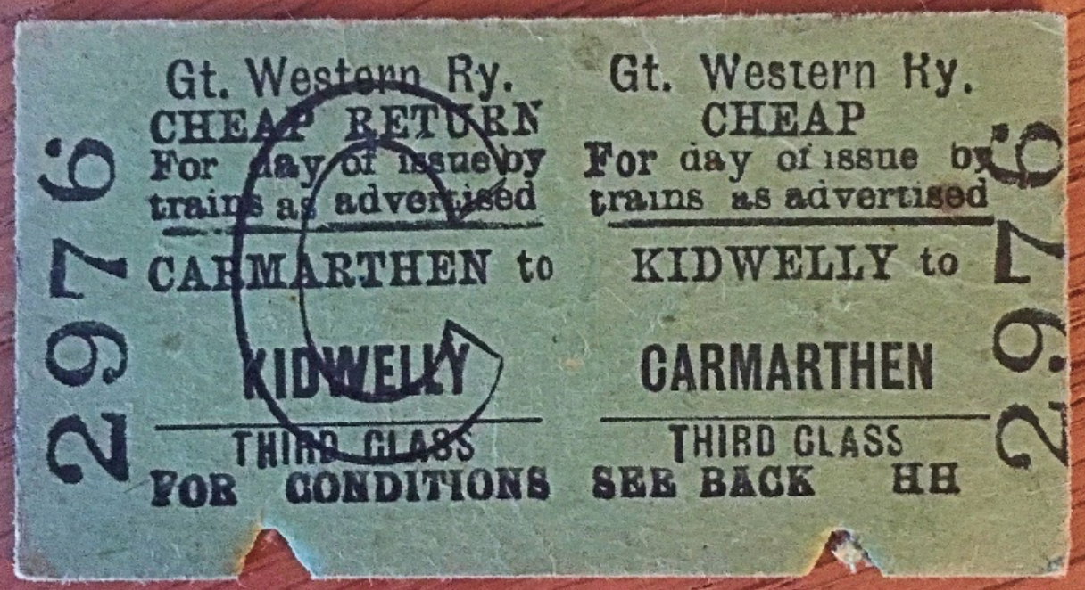 A GWR Child's Third Class Return between Carmarthen and Kidwelly.  Pre-1948 but otherwise undated.