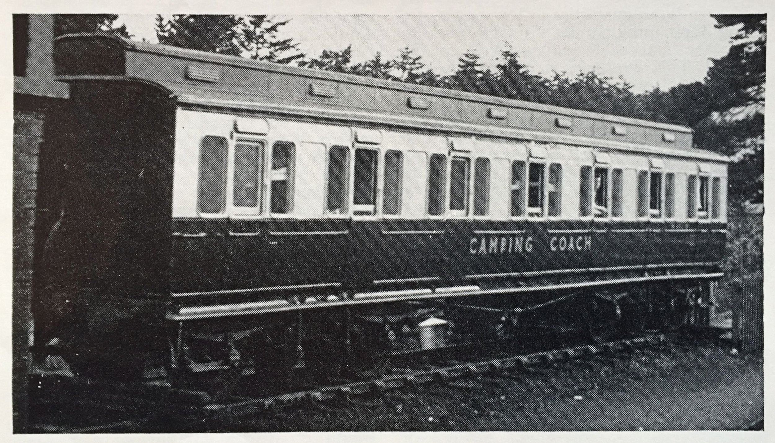 Ex-Great Western seven compartment Clerestory Camp Coach in later BR days. Location of site and origin of photograph are unfortunately unknown.