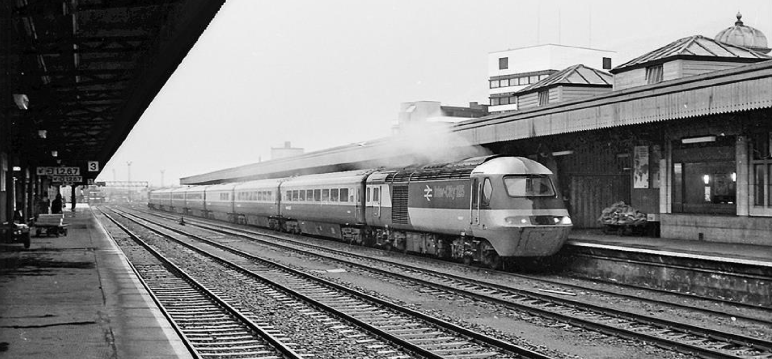 It's strange to think that these once ubiquitous mainline greyhounds are now becoming a thing of the past. Long-lived and staggeringly successful, the 125s carried us everywhere [almost!] for decades, but their iconic design is destined now to become just a memory.    Here, on a wet, windy Wednesday in late January 1980, HST W43121 leads, pulling into platform 2 of Cardiff Central with a Paddington service. The clagg from the Valenta engines indicates that this set has just come up the road from Canton.    Photograph by Robert Masterman and used with many thanks.