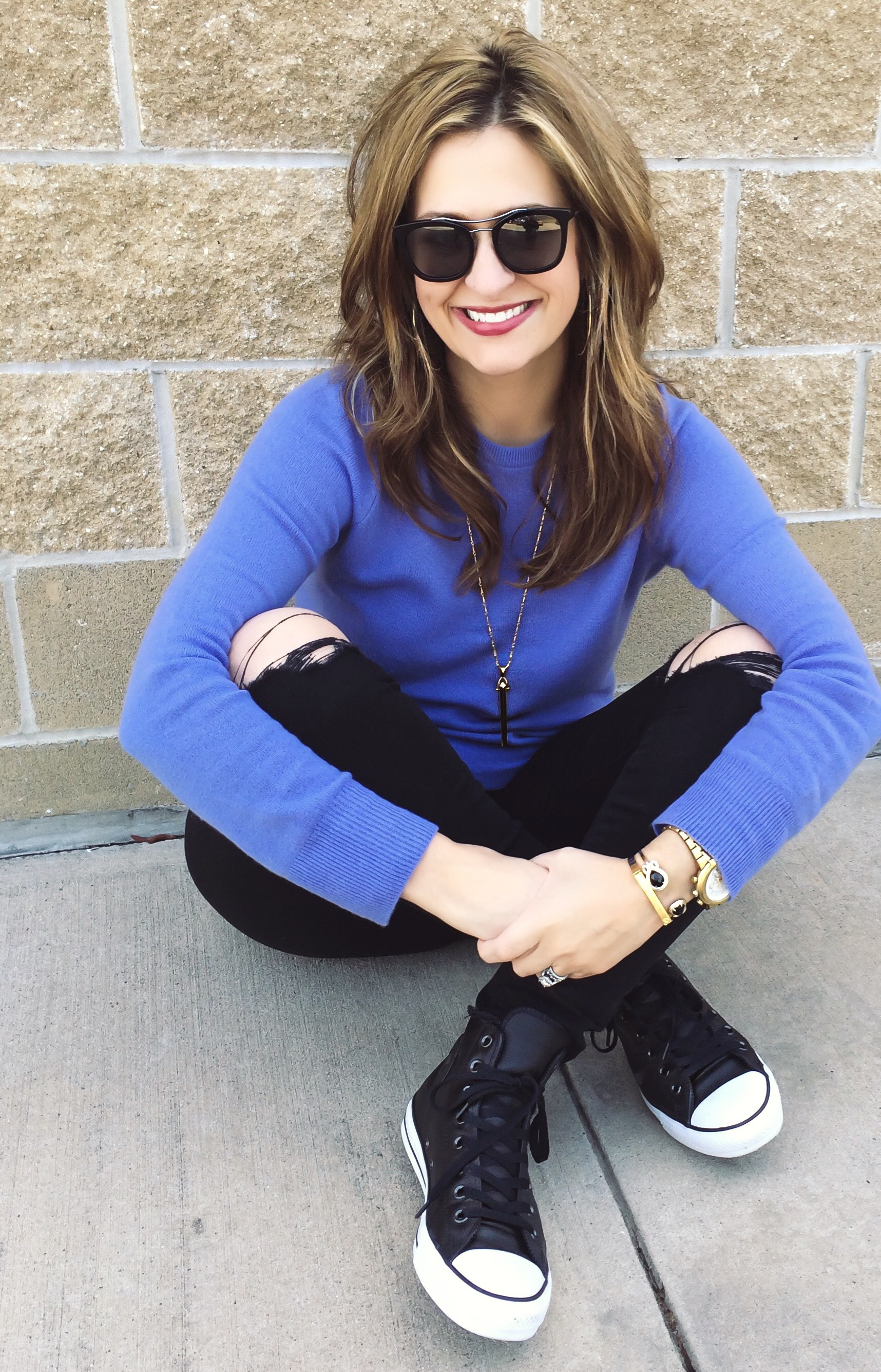 High top sneakers:  Converse  Jeans:  Mother  Necklace:  Stella & Dot