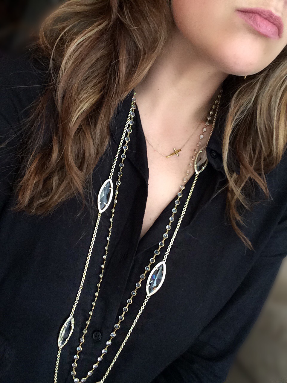 When layering necklaces, varying lengths is key, even if they are just an inch or two apart in length. The marquis shaped Kendra Scott necklace has translucent stones (similar style on SALE  here ) that compliments the white topaz Anu chain (no longer available), without being too matchy-matchy.