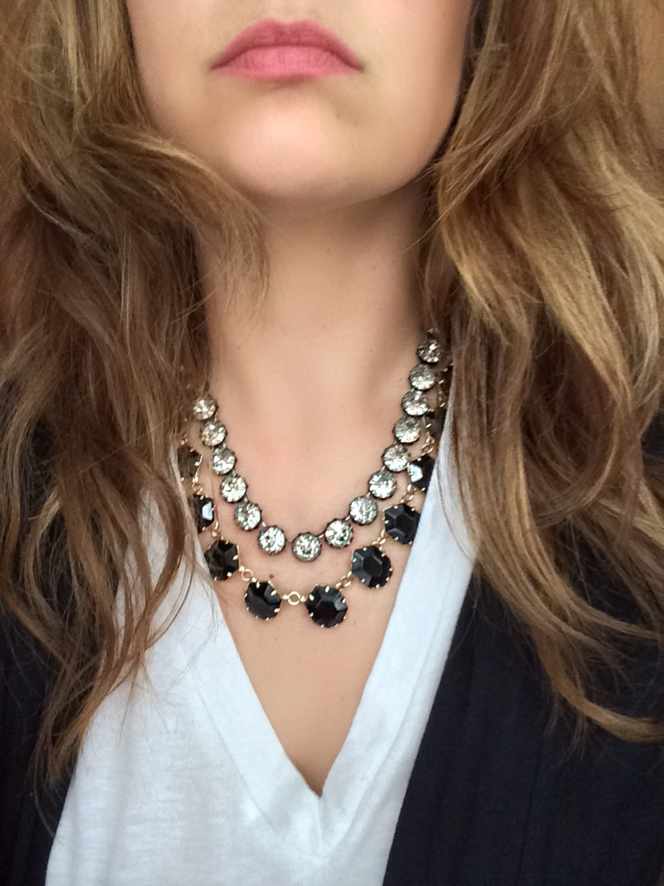 I love mixing this short  vintage crystal necklace  by Stella & Dotwith my  Sam necklace  by Kendra Scott when I want to dress up any look. Layering isn't exclusive to longer styles..