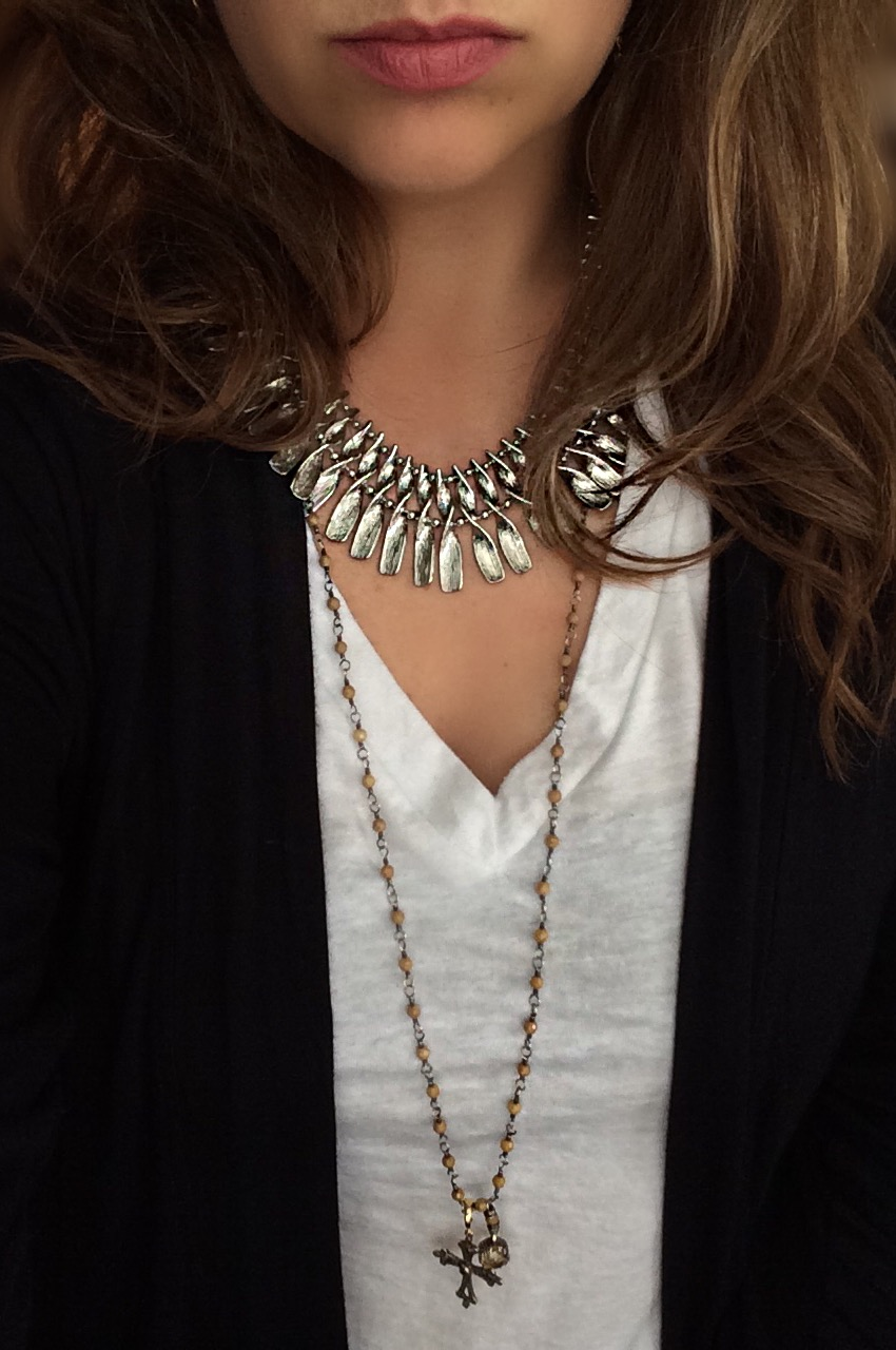 Yes! Yes! Yes! You can absolutely mix your metals! Throw that rule out the window!Mixing your metals adds dimension and overall interest to your look. You want your collection of jewelry to look...collected! I've mixed my silver Kendra Scott necklace (similar  here ) with an oxidized silver Rebecca Lankford chain (similar  here ) with added cross here.