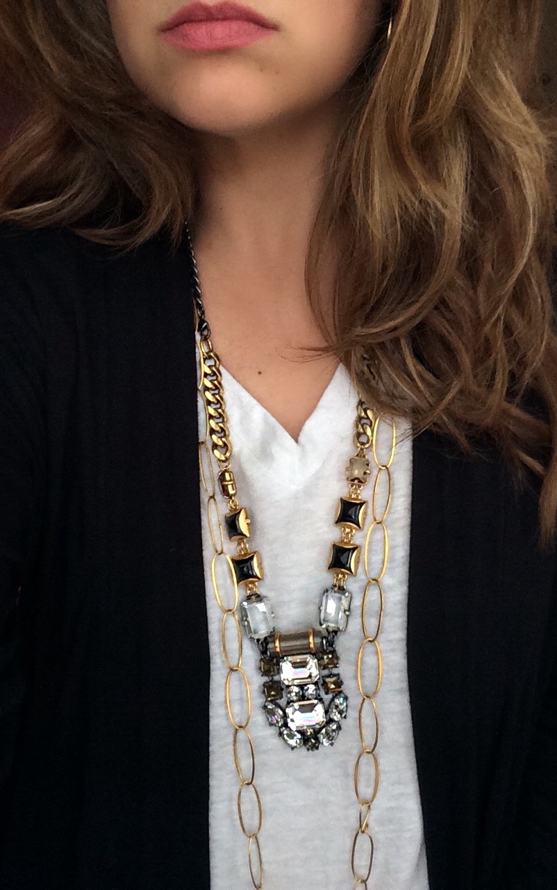 Statement necklaces can be layered too. If you decide to layer a big piece of jewelry, I suggest not going too small or delicate on your added piece. You don't want a necklace to get lost (or tangled) in your statement look. This S&D statement necklace is sold out but you can find a similar style  here . Its layered with the Jane Diaz necklace found  here .