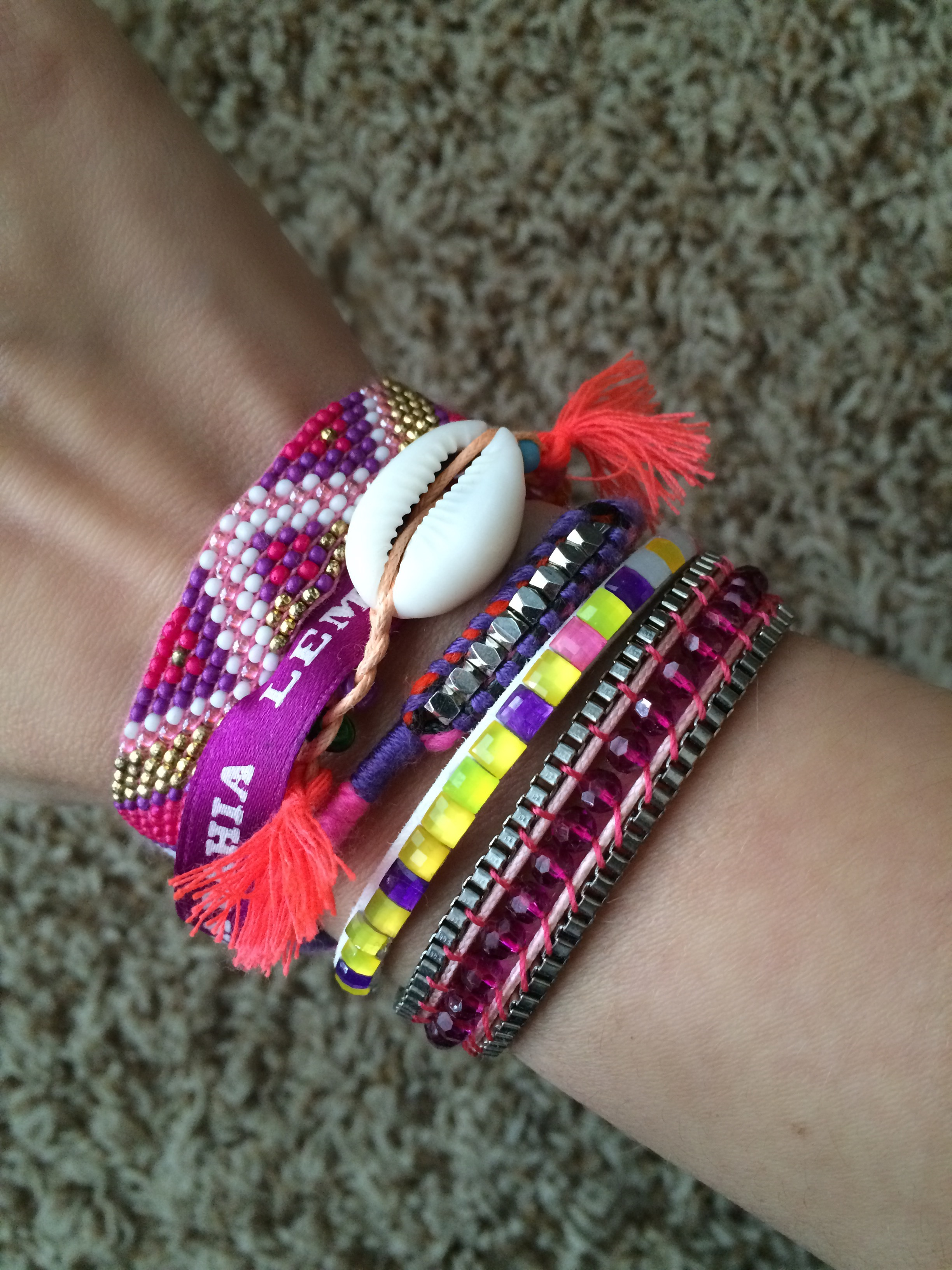 For an easier layered look,  Hipanema makes these fun bracelets that are already put together for you with one big magnetic clasp. It's a Summer go-to for me!