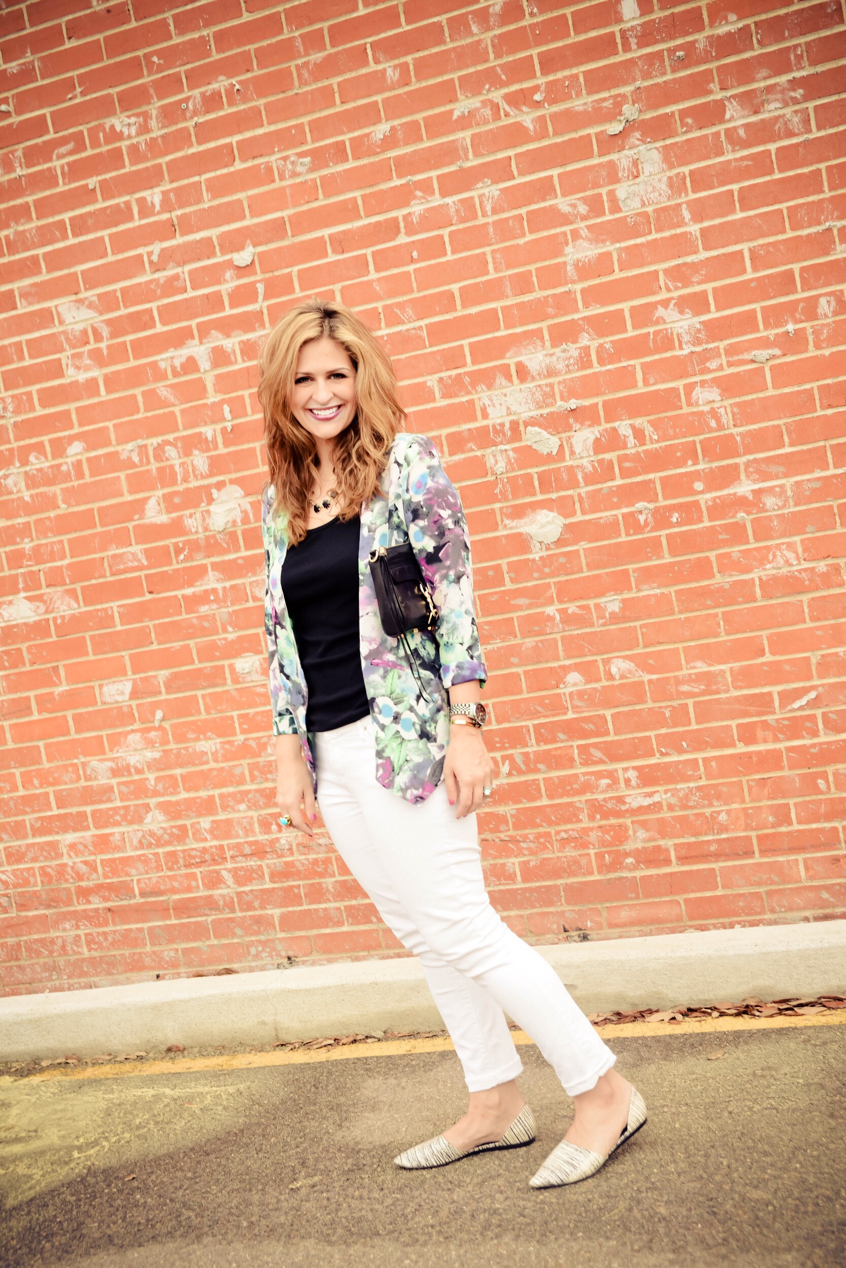 Jeans:  Gap  Camisole:  CamiNYC  Jacket:  Astr Shoes: Vince (sold out similar  here ) Necklace: Kendra Scott (sold out similar option  here ) Clutch:  Rebecca Minkoff