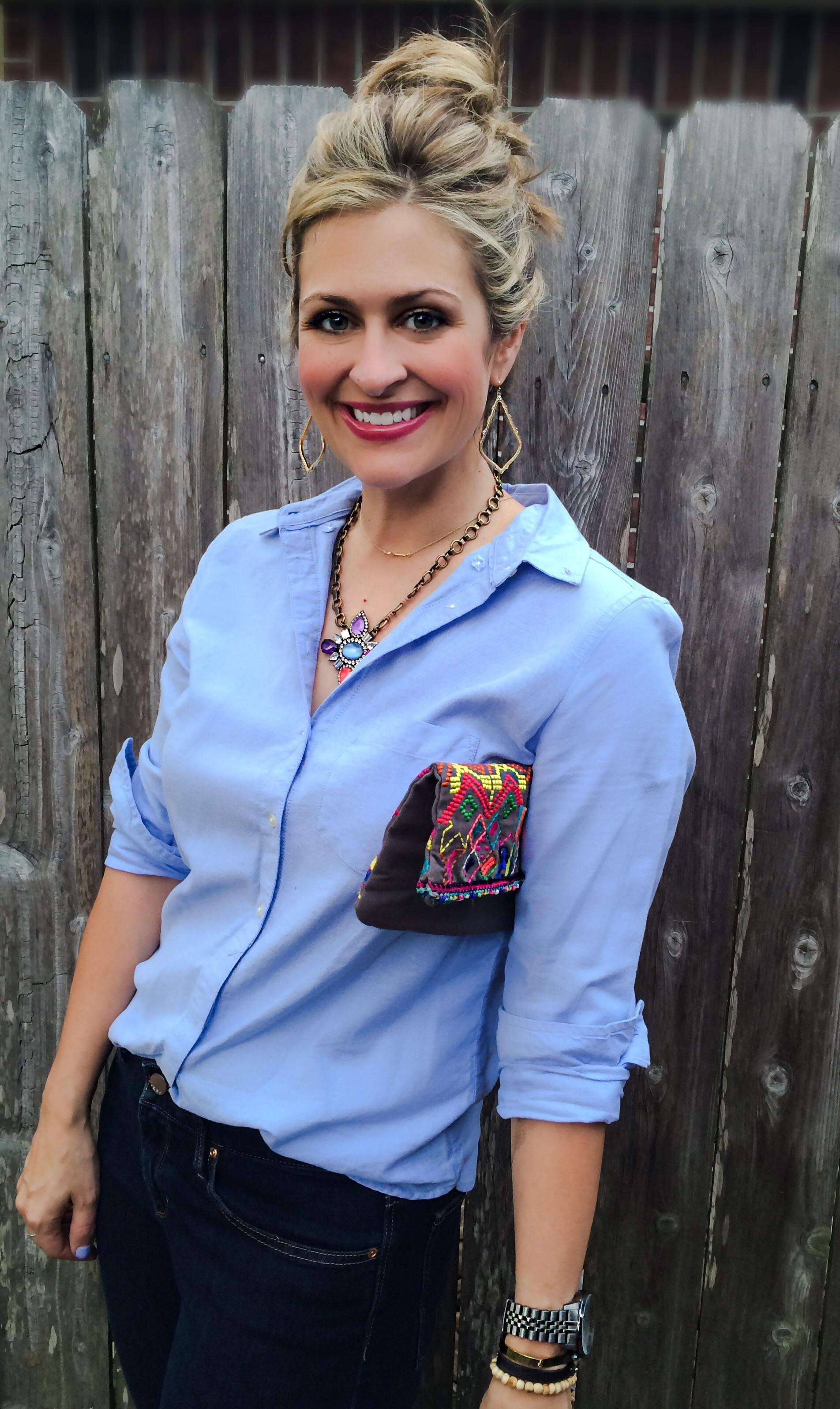 Necklace: Loren Hope (similar here ) Jeans: Gap Always Skinny  Shirt: Gap Oxford    Earrings: Kendra Scott  Clutch:  Star Mela