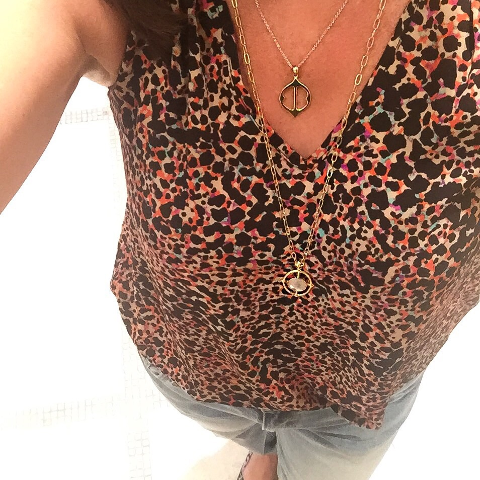 Our friend and fellow  Stella & Dot  lover, Annette, wearing the Fortuna necklace...love her v-neck leopard top too!