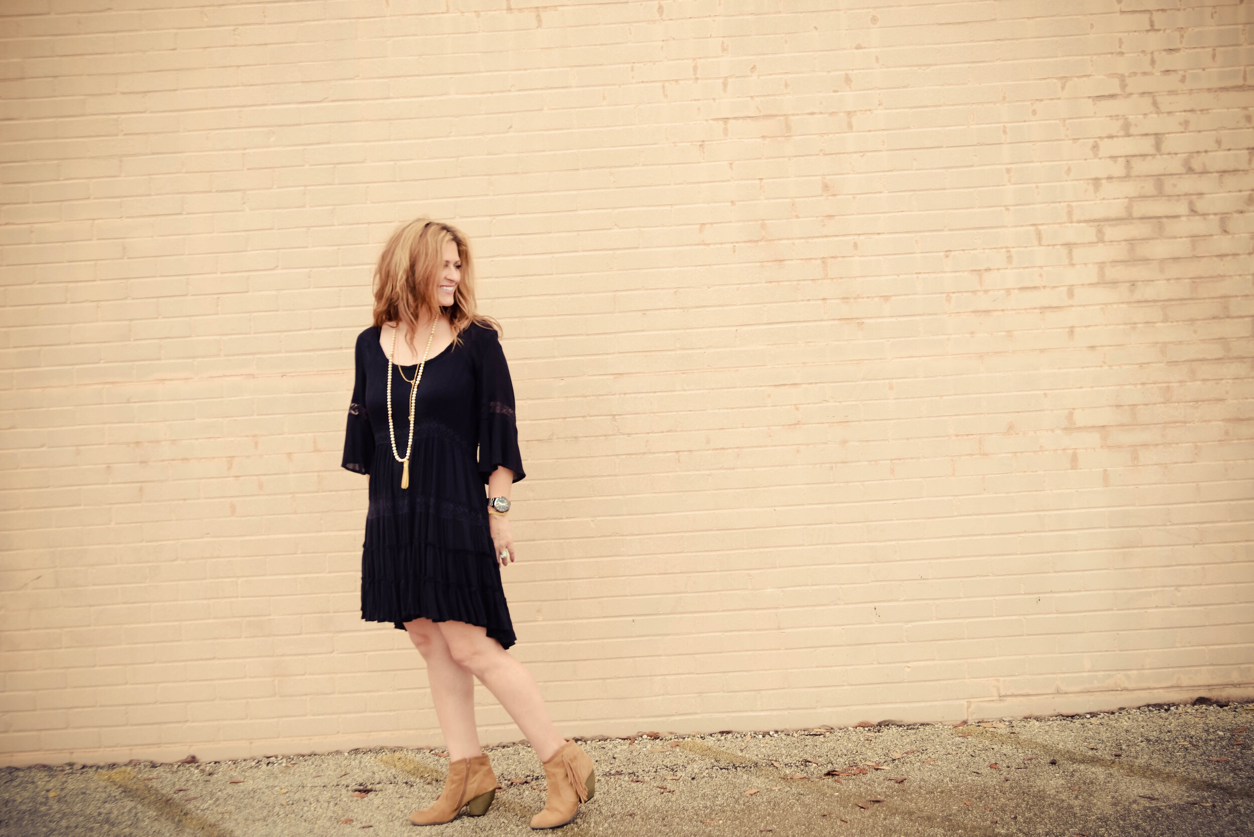 Photo by:  Debby Ditta Photography   Dress: Free People (older style but similar  here ,  here  and  here ) Booties: Target (older style but similar at Forever 21  here ) Necklace:  Frasier Sterling