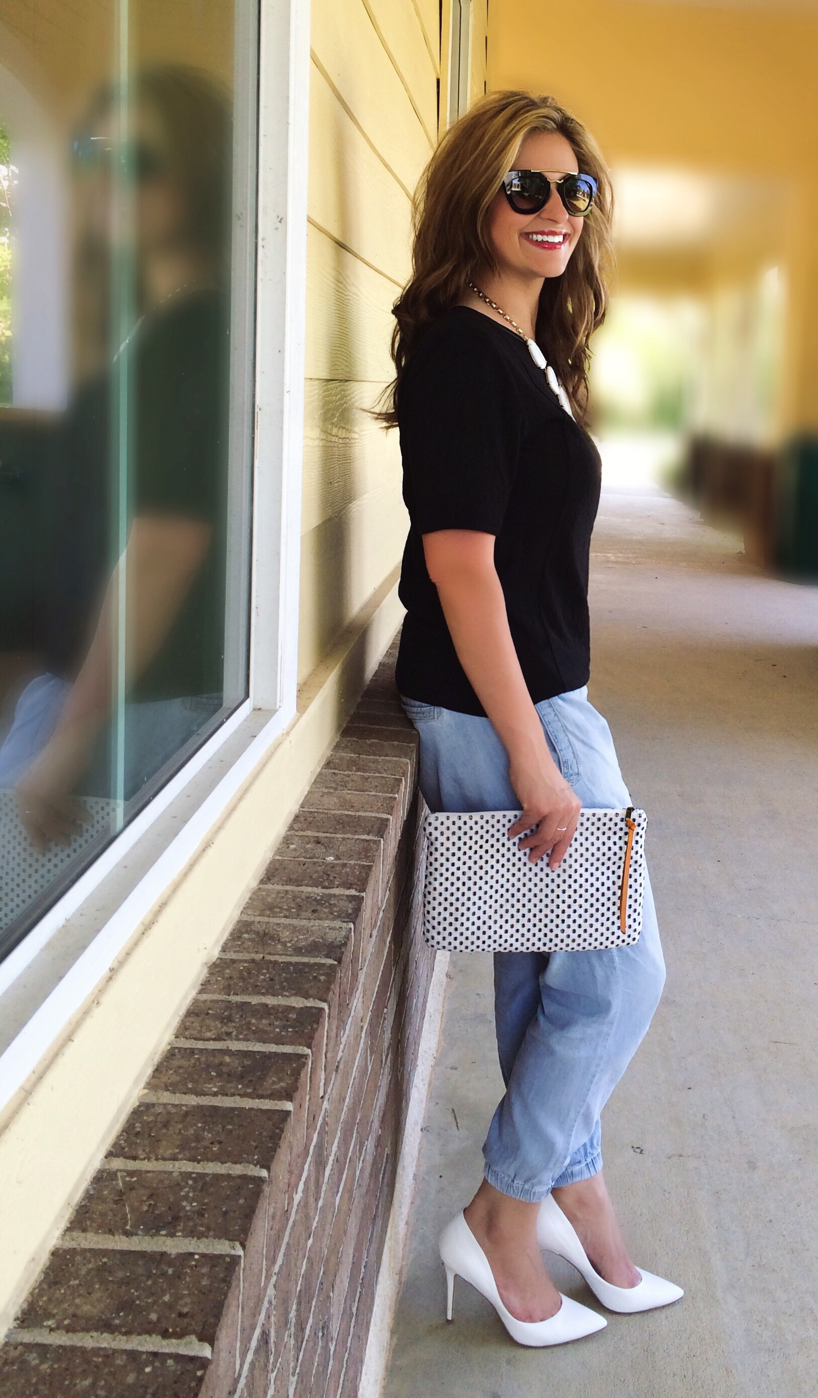 Top: Loft Joggers:  Anthropologie  Shoes:  Charles by Charles David  Clutch:  Loft  Necklace:  Kendra Scott