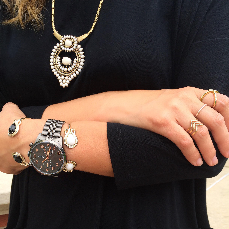 "Necklace:  Stella & Dot  Watch: Fossil (similar  here ) Bracelets:  Kendra Scott  Chevron ring:  Stella & Dot  ""X"" ring:  Baublebar"