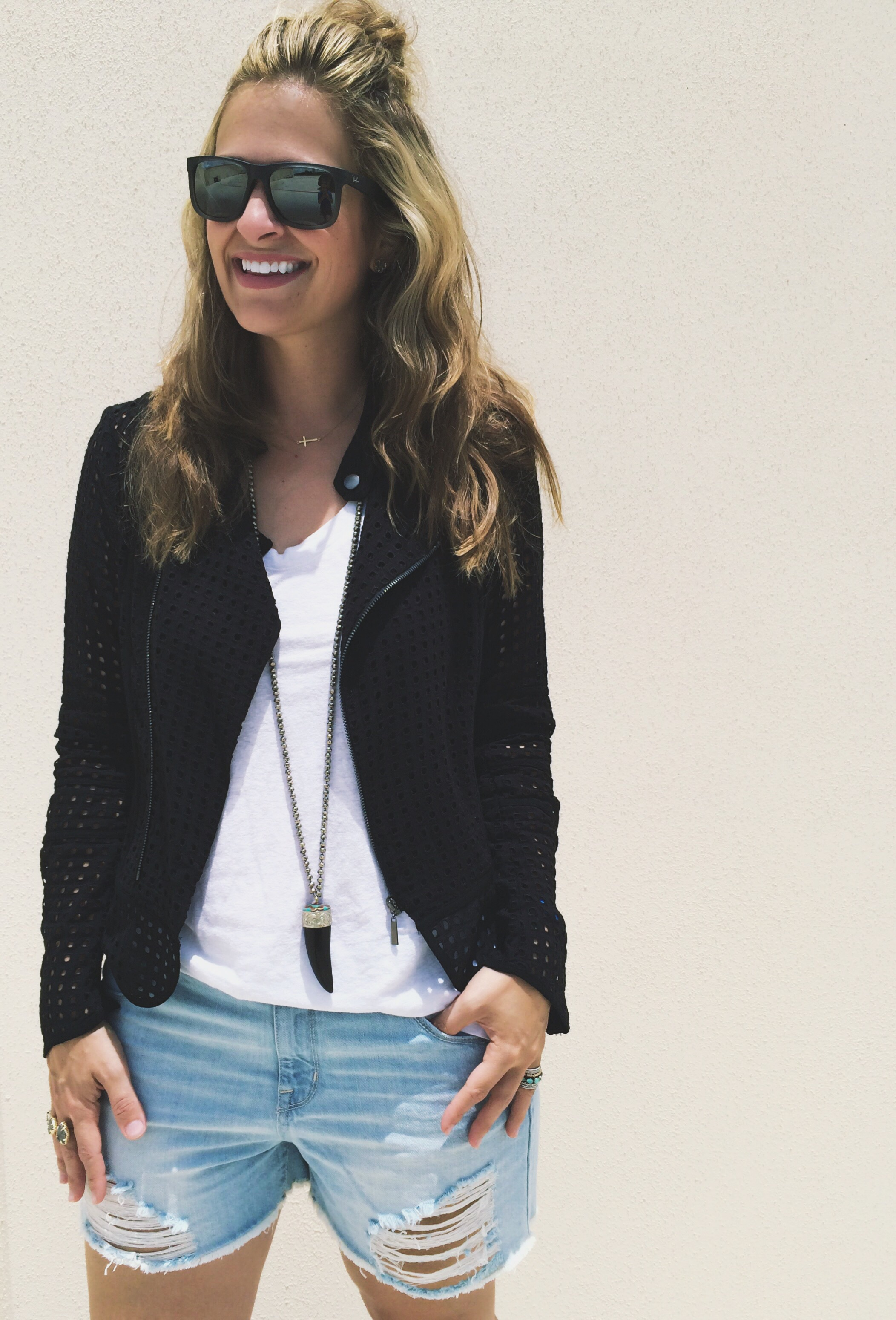 Sunglasses:  Ray-Ban  Shorts:  Target  Jacket:  Nordstrom  Necklaces: Frasier Sterling (her designs  here  and similar here ) &  Stella & Dot