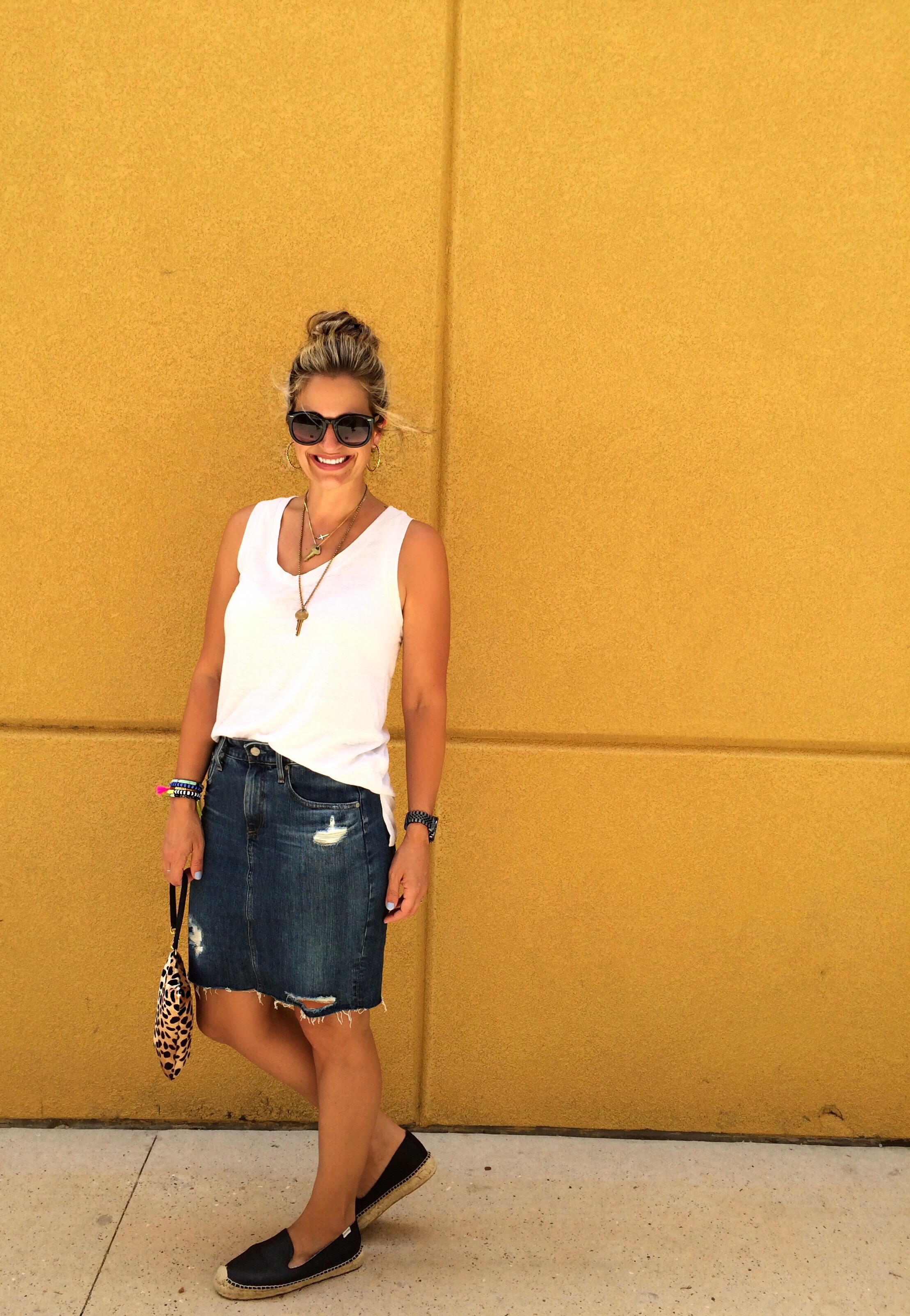 Skirt:  AG  Top: Gap similar  here  Shoes:  Soludos  Wristlet: Clare Vivier similar  here  Bracelets:  Baublebar  Earrings:  Stella&Dot  Necklaces:  The Giving Key